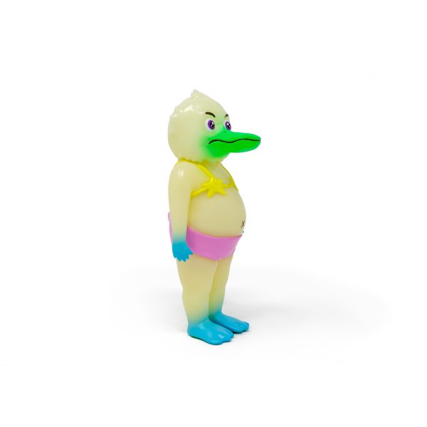 A photo of the Glow in the Dark Colorway Duck Man, facing forward and to the side