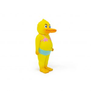 A photo of the Yellow Colorway Duck Man, facing forward and to the side