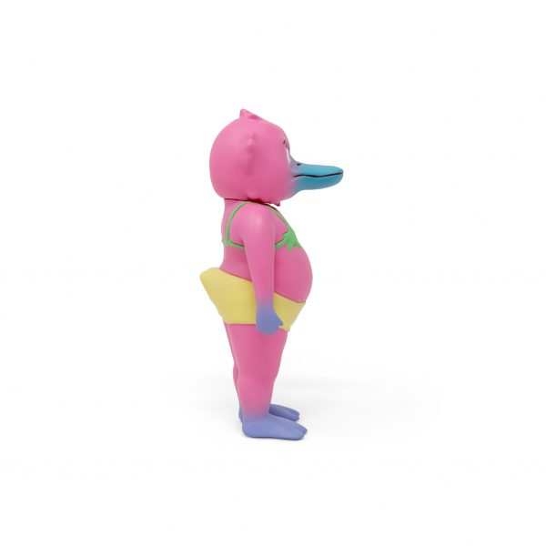 A photo of the Pink Colorway Duck Man, facing to the side